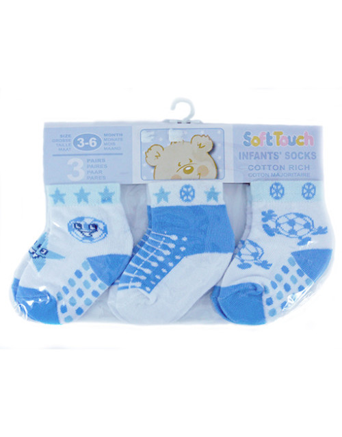 Football design baby socks, set of 3.