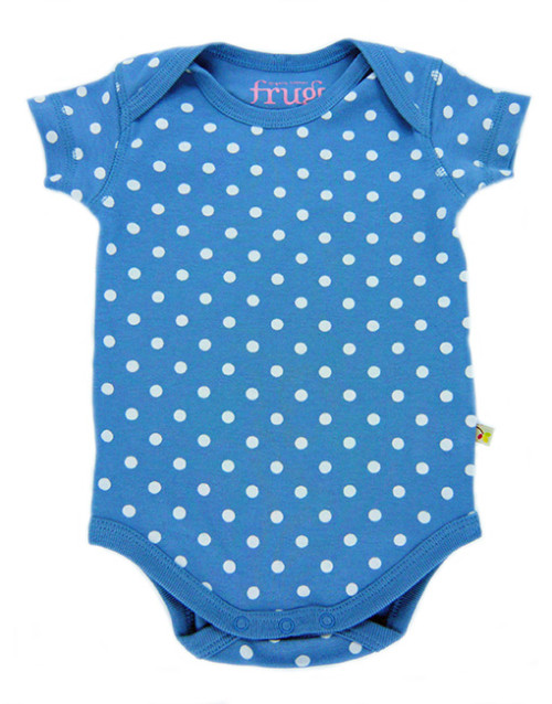 Frugi Blue Polka Dot Newborn Bodysuit.