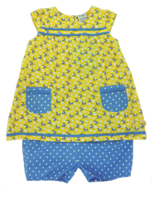Frugi Blue and Yellow Playsuit Set