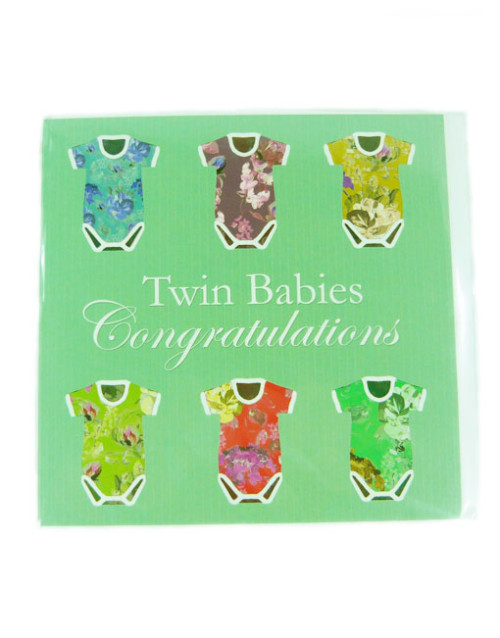 Twin Baby Congratulations Greeting Card