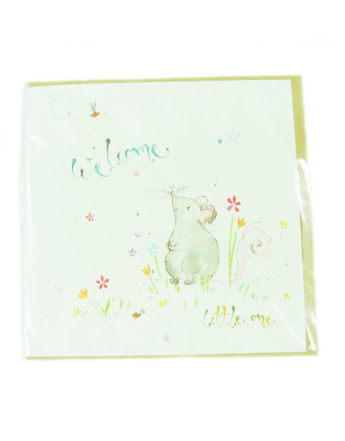 Mouse Design Welcome Lititle One Greetings Card