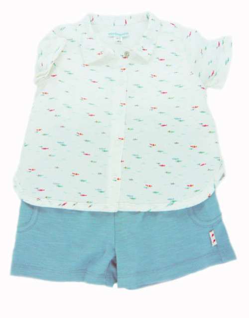 Blue and Cream Shorts and Shirt Set
