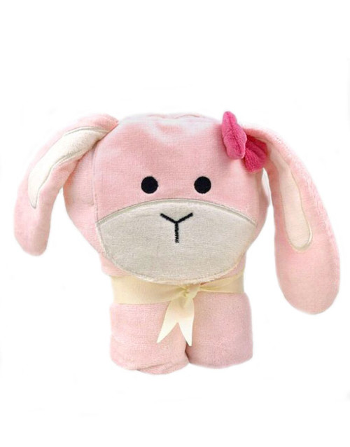 Pink Bow Bunny Baby Towel